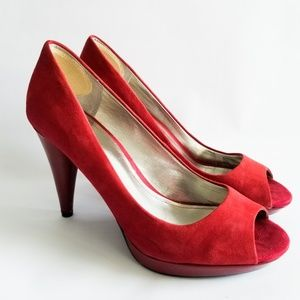 Style & Co. Cone Heel Peep Toe Heels Suede Red 8.5
